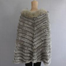 Womens Real Rabbit Fur Knit Raccoon Fur Collar Shawl Cape Pullover Coat Jacket
