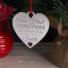 Personalised Our - Your First Xmas As Mr & Mrs Christmas Tree Decoration Bauble