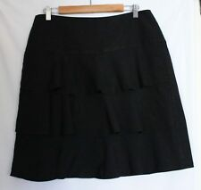 VERONIKA MAINE ~ Black Viscose Linen A-Line Skirt w Layered Fabric Front 14