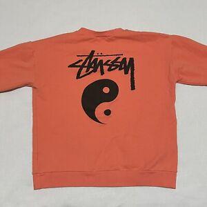 Stussy Kids Logo Sweatshirt Yin Yang Logo Size Large Salmon Orange Boys Girls