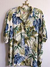 Mens HILO HATTIE Blue Green Hawaiian Button Down Short Sleeve Shirt Size 3x XXXL