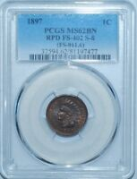 1897 PCGS MS62BN FS-402 S-8 RPD Repunched date Indian Head Cent