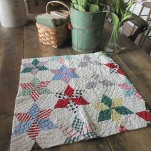 Excellent! Charming Touching Stars Vintage QUILT PC Cutter 22x22