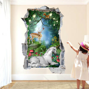 Magical Enchanted Forest Animals Unicorn Wall Sticker 3D Poster Decal Mural RA3