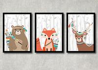 Bild Set Wald Tiere Kunstdruck A4 Bär Fuchs Reh Tribal Kinderzimmer Deko Druck