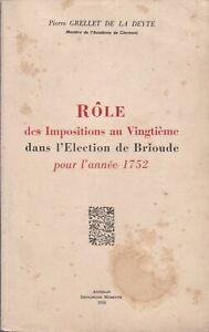 Grellet de la Deyte - Role impositions au 20è dans l'élection de brioude 1752