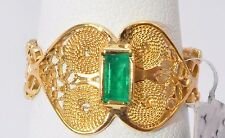 2514- 18K YELLOW GOLD WITH EMERALD 3.10 GRAMS SZ 7 RING