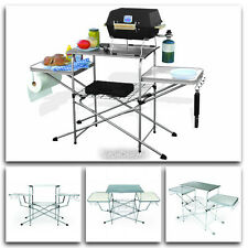 Portable Folding Camp Kitchen Sink Table Outdoor RV Camping Cooking Food Deluxe