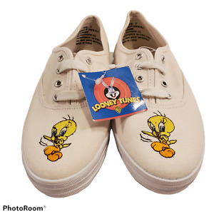 Vintage Looney Tunes Tweety Bird Womens Size 7 White Sneakers Shoes NWT No Box