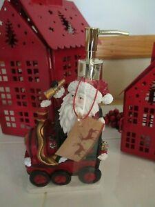"NWT Christmas ""Santa Riding Train"" Holiday Resin Soap Dispenser - Hostess Gift!"