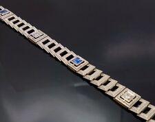 Art Deco Diamond Sapphire Platinum 14K Gold Stepped Ornate Filigree Bracelet