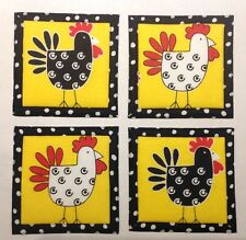 """Mug Rug Coasters With Chickens 4"""" By 4"""" Handmade Quilted Set Of 4 100% Cotton."""
