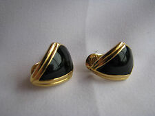 MONET Gold Tone BLACK ENAMEL CLIP-ON EARRINGS Art Deco AVANT GARDE Vintage