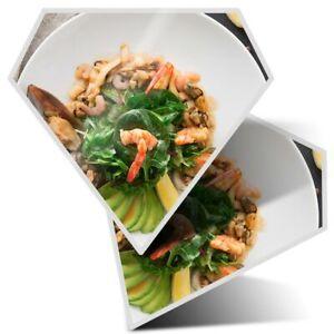 2 x Diamond Stickers 7.5 cm - Seafood Salad Healthy Food Restaurant  #24404