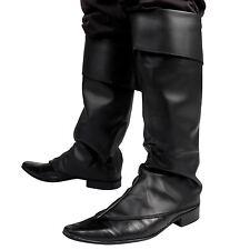 Mens Black Fancy Dress Costume Boot Top Covers Santa Medieval Peter Pan Pirate