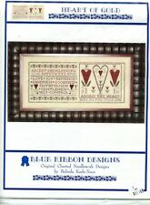 Cross Stitch Chart - Blue Ribbon Design - Heart of Gold