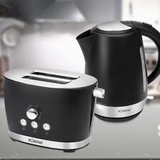 Frühstücks Set 2 Scheiben Toaster Brötchen Aufsatz 1,7 L Wasserkocher schwarz