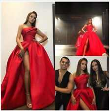 New Red Plus Size Evening Dresses One Shoulder Stain Backless Split Pageant Gown