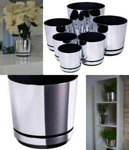 Plastic plant pot indoor flower small large saucer gloss metallic decorative