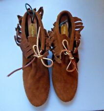 Vintage 1980s Minnetonka Ankle Moccasins Booties NOS Brown Suede Fringed Sz 9
