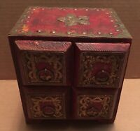 Antique Wooden Indian? Middle Eastern? Wood Folk Art Jewelry Trinket Box