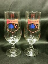 1984 Olympic Games Budweiser Pedestal Beer Glasses Set of Two Collectible EUC #1