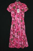 VERY RARE DEADSTOCK 1960'S PINK FLORAL COTTON PRINT DRESS GIRLS SIZE 14-16