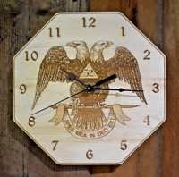"Masonic ""Scottish Rite 32 Deg"" 10"" Wall Clock - Wood - Laser Crafted Gift 2"""