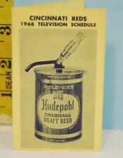 1966 Hudepole Cincinnati Reds Baseball TV Schedule Kold Keg Draft Beer RARE!!!