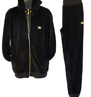 Mens velour tracksuit, super star premium fashion jogging set, black hip hop