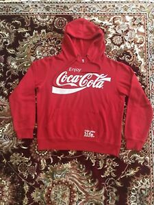 Coca Cola Red Pullover Hoodie Drawstring Long Sleeve Women's Size M - Quality!