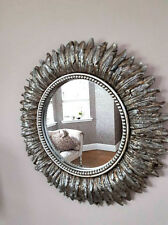 Distressed Silver Feathered Round Wall Mirror Livingroom Bedroom Hanging Decor