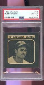 1950 Drake's Drake Drakes TV Series #13 Bobby Doerr PSA 4 Graded Baseball Card