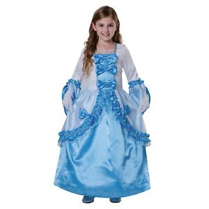 Girl Southern Princess Belle Halloween Costume Queen Blue White Long Dress Large