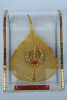 Gold Plated Natural Pippal Leaf Hindu Mantle Piece Sikh Khalsa Khanda Stand