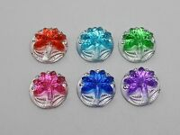100 Mixed Color Acrylic Flatback Round Rhinestone Coconut Tree Cabochon Gem 11mm