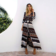 Women Summer Vintage Boho Long Maxi Dress Party Beach Dress Floral Sundress