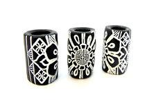 Handmade Tribal Flower Dreadlock Bead, Dread Beads, 8mm Hole, Black & White