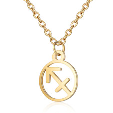 Charming Zodiac 12 Constellation Stainless Steel Clavicle Chain Necklace Pendant
