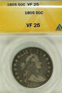 1805 Draped Bust Half Dollar : ANACS VF25