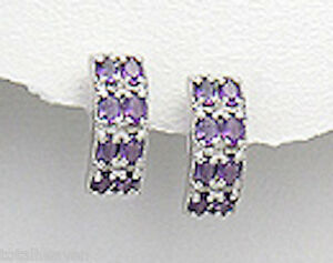 6.9g Solid Sterling Silver Genuine Purple Amethyst Posts w/ Clips 19mmx5mm