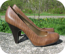 "Fergalicious Alligator Pumps 9M Brown Leatherette 4"" Heel 1/2"" Hidden Platform"