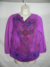 Fashion Bug Blouse Large Purple Multi Color Womens NWT