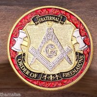 "MASONIC MASON FRATERNAL ORDER OF THE FREEMASON  ENGRAVABLE  1.75"" CHALLENGE COIN"