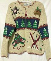 Croft & Barrow Womens Tan Winter Zipper Cardigan Sweater Size Large
