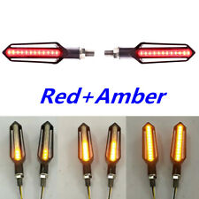 Universal LED Motorcycle Brake Light Red+Amber Flowing Turn Signal Indicator 2x