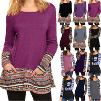 Fashion Women Loose Long Sleeve Cotton Casual Blouse T-Shirt Tunic Tops Pullover