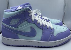 Nike Air Jordan 1 Mid Purple Aqua Pulse Glacier Blue Lavender 554724-500 sz 11.5