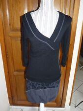 XANAKA Robe noire grise 38 boule sous genoux manches longues