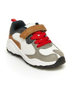 New Carter's Toddler Boys Gray/Red Athletic Sneaker 8 9 10